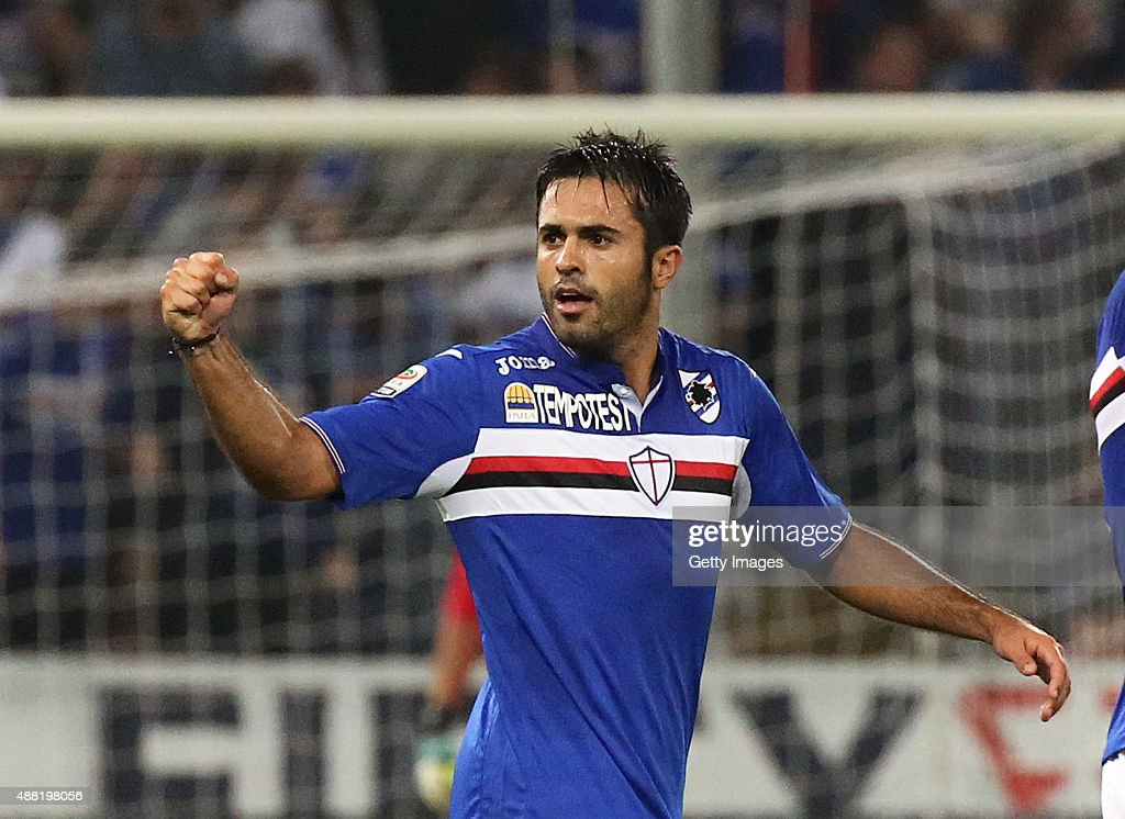 Eder of Samodoria celebrates after scoring the opening goal during the Serie A match between UC Sampdoria and Bologna FC at Stadio Luigi Ferraris on...
