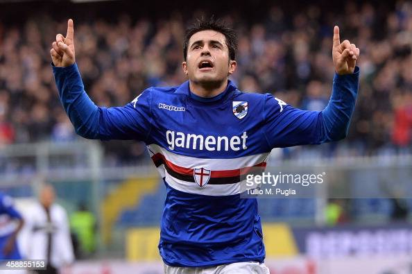 Eder of Sampdoria celebrates after scoring the opening goal during the Serie A match between UC Sampdoria and Parma FC at Stadio Luigi Ferraris on...