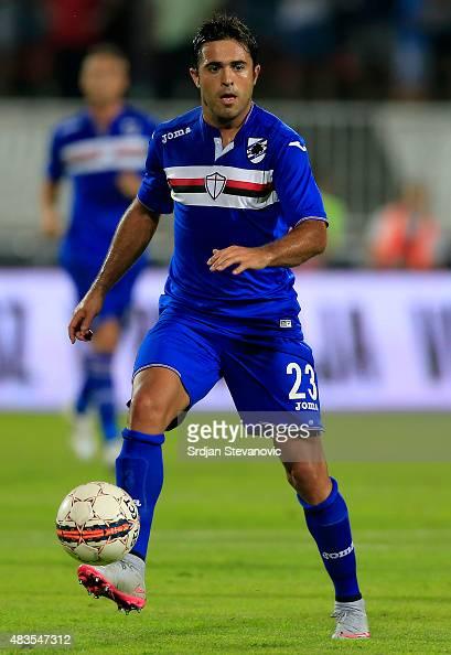 Eder of Sampdoria in action during the UEFA Europa League Third Qualifying Round 2nd Leg match between Vojvodina Novi Sad and Sampdoria at...