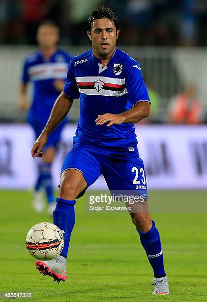 Eder of Sampdoria in action during the UEFA Europa League Third Qualifying Round 2nd Leg match between Vojvodina Novi Sad and Sampdoria at...