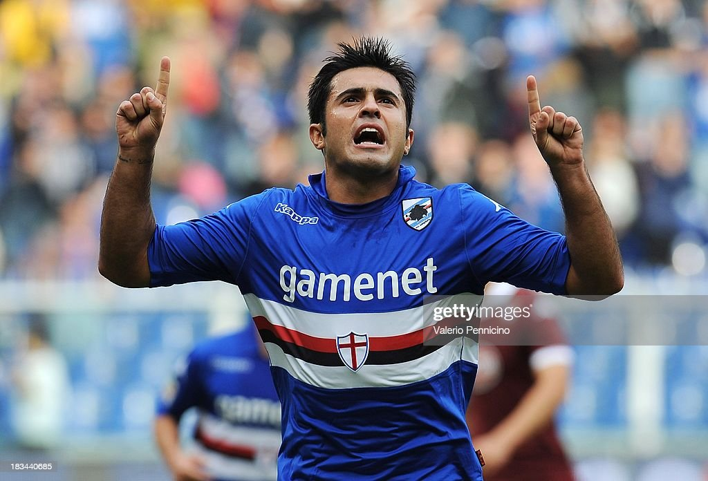 Eder of UC Sampdoria celebrates after scoring their second goal during the Serie A match between UC Sampdoria and Torino FC at Stadio Luigi Ferraris on October 6, 2013 in Genoa, Italy.