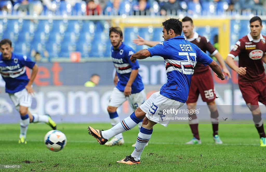 Eder of UC Sampdoria scores their second goal with a penalty-kick during the Serie A match between UC Sampdoria and Torino FC at Stadio Luigi Ferraris on October 6, 2013 in Genoa, Italy.