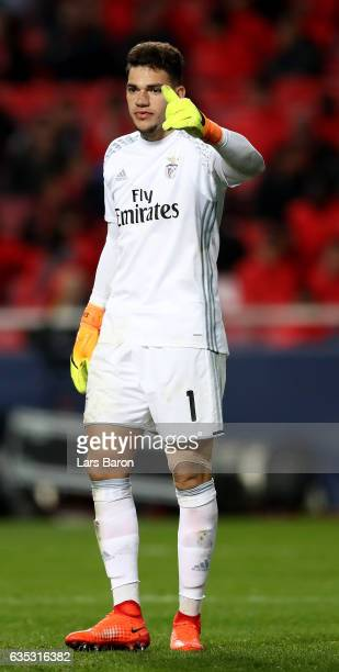Ederson goalkeeper of Benfica gestures during the UEFA Champions League Round of 16 first leg match between SL Benfica and Borussia Dortmund at...