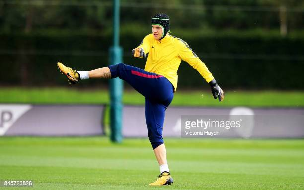 Ederson Moraes during training at Manchester City Football Academy on September 11 2017 in Manchester England