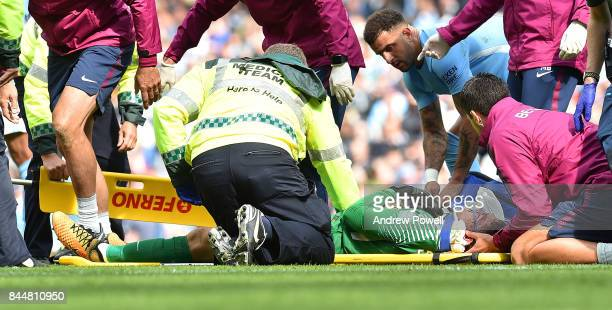 Ederson Moraes of Manchester City after being kicked in the face by Sadio Mane during the Premier League match between Manchester City and Liverpool...