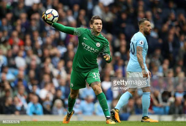 Ederson Moraes of Manchester City during the Premier League match between Manchester City and Crystal Palace at Etihad Stadium on September 23 2017...
