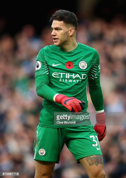 Ederson Moraes of Manchester City in action during the Premier League match between Manchester City and Arsenal at Etihad Stadium on November 5 2017...