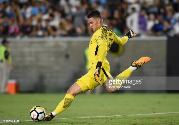 Ederson Moraes of Manchester City kicks a goal kick down the field during the International Champions Cup match between Real Madrid and Manchester...