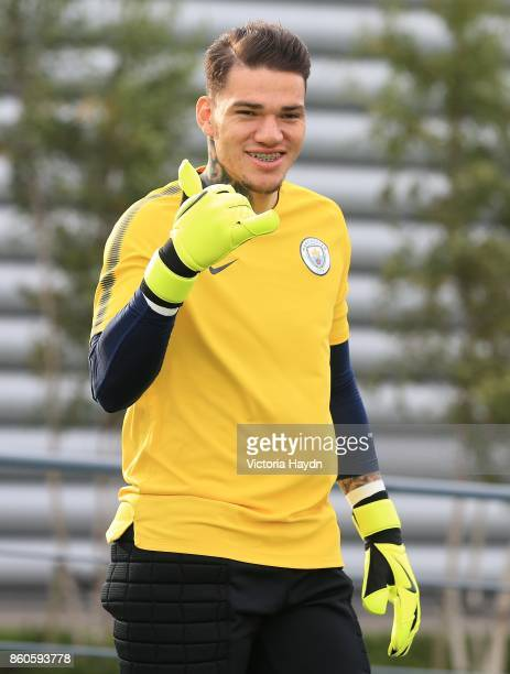Ederson Moraes reacts during training at Manchester City Football Academy on October 12 2017 in Manchester England