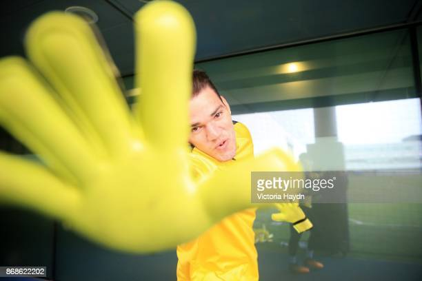 Ederson Moraes reacts to he camera during training at Manchester City Football Academy on October 31 2017 in Manchester England