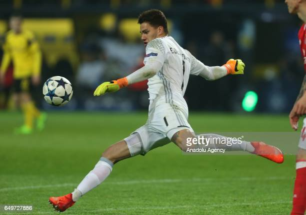 Ederson of Benfica in action during the UEFA Champions League round of 16 soccer match between Borussia Dortmund and Benfica at the Signal Iduna Park...