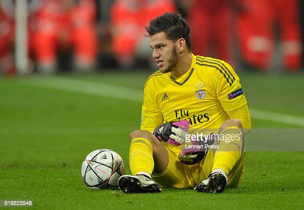 Ederson of Benfica sits on the pitch during the UEFA Champions League Quarter Final first leg match between FC Bayern Muenchen and SL Benfica at...