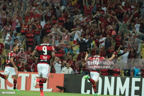 Ederson of Flamengo celebrates after the second goal against Atletico Paranaense during theis 2017 Copa Libertadores football match at Maracana...