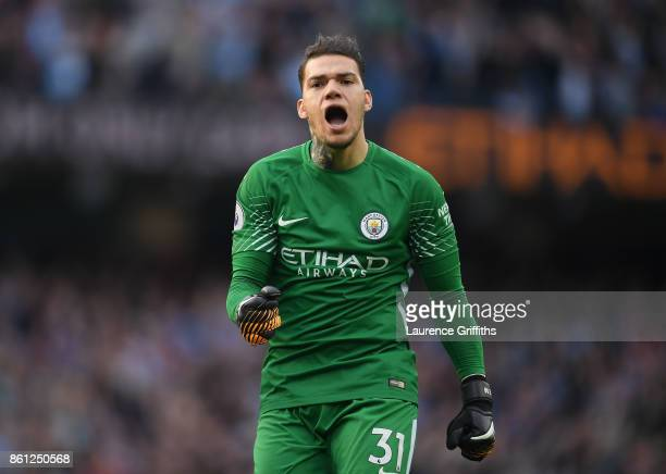 Ederson of Manchester City celebrates his sides fourth goal during the Premier League match between Manchester City and Stoke City at Etihad Stadium...