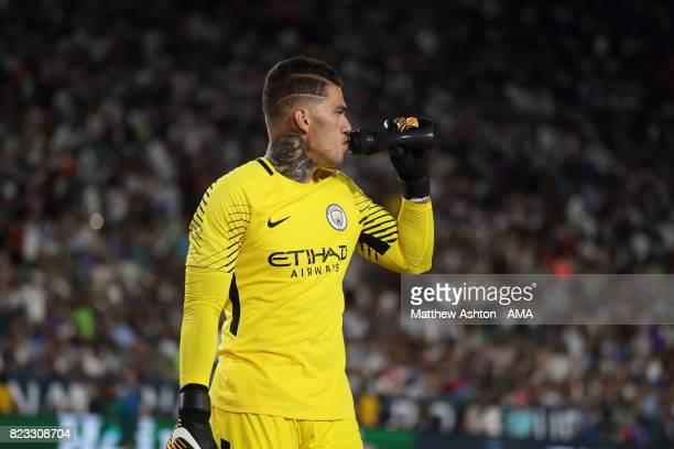 Ederson of Manchester City during the International Champions Cup 2017 match between Manchester City and Real Madrid at Los Angeles Memorial Coliseum...