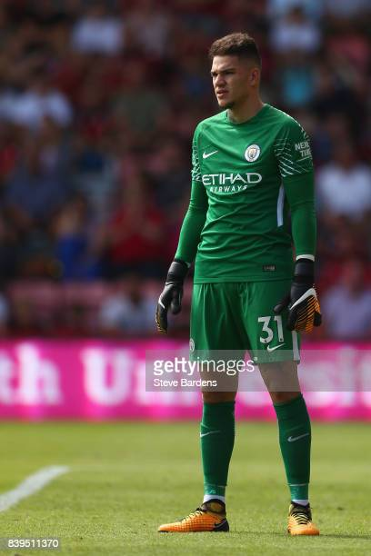 Ederson of Manchester City during the Premier League match between AFC Bournemouth and Manchester City at Vitality Stadium on August 26 2017 in...