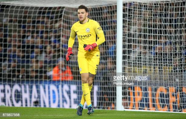 Ederson of Manchester City during the Premier League match between Leicester City and Manchester City at The King Power Stadium on November 18 2017...