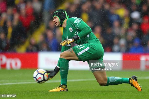 Ederson of Manchester City in action during the Premier League match between Watford and Manchester City at Vicarage Road on September 16 2017 in...