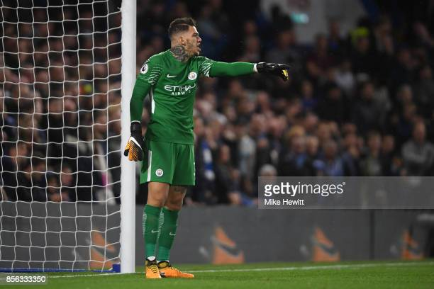 Ederson of Manchester City in action during the Premier League match between Chelsea and Manchester City at Stamford Bridge on September 30 2017 in...