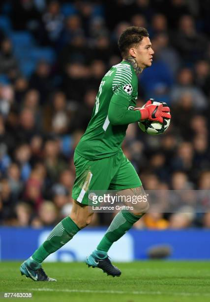 Ederson of Manchester City in action during the UEFA Champions League group F match between Manchester City and Feyenoord at Etihad Stadium on...