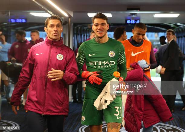 Ederson of Manchester City leaves the pitch following the Premier League match between Manchester City and Burnley at Etihad Stadium on October 21...