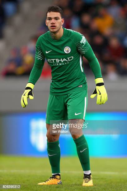 Ederson of Manchester City looks on during a Pre Season Friendly between Manchester City and West Ham United at the Laugardalsvollur stadium on...