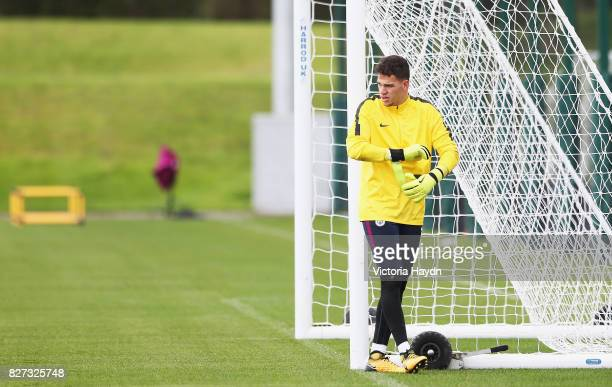 Ederson of Manchester City looks on during a training session at Etihad Campus on August 7 2017 in Manchester England