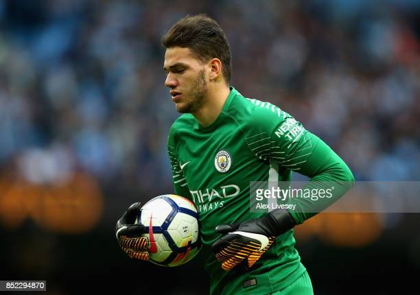 Ederson of Manchester City looks on during the Premier League match between Manchester City and Crystal Palace at Etihad Stadium on September 23 2017...