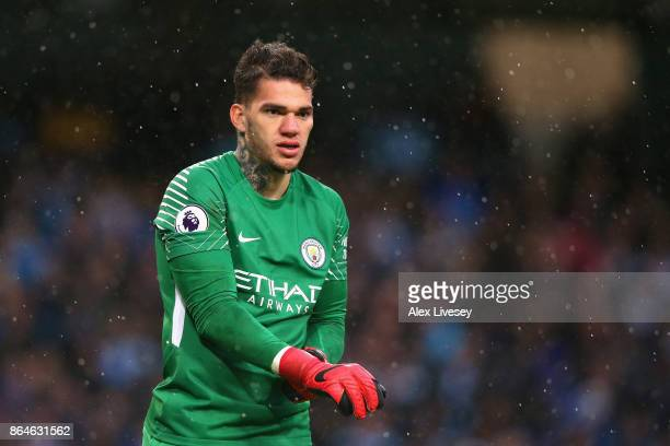 Ederson of Manchester City looks on during the Premier League match between Manchester City and Burnley at Etihad Stadium on October 21 2017 in...