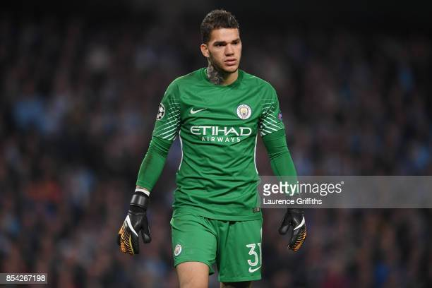 Ederson of Manchester City looks on during the UEFA Champions League Group F match between Manchester City and Shakhtar Donetsk at Etihad Stadium on...