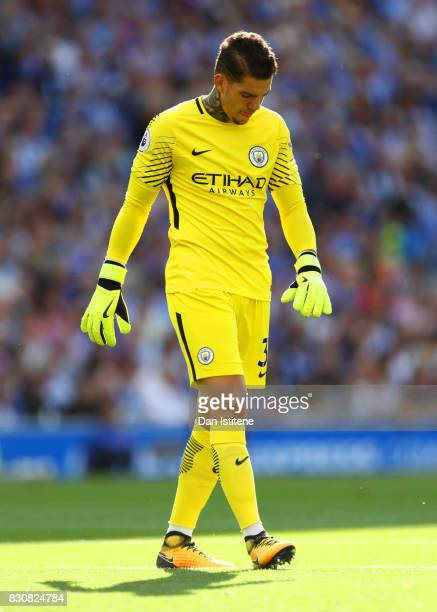 Ederson of Manchester City reacts during the Premier League match between Brighton and Hove Albion and Manchester City at Amex Stadium on August 12...