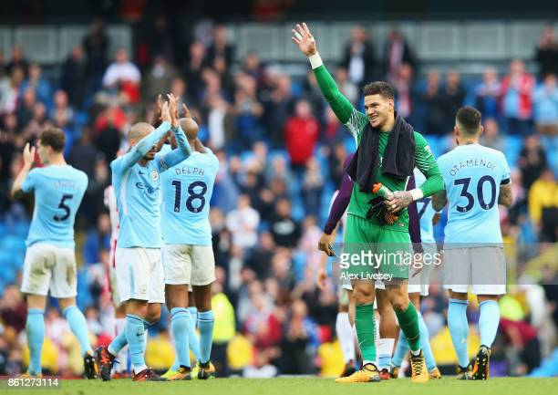 Ederson of Manchester City shows appreciation to the fans following the Premier League match between Manchester City and Stoke City at Etihad Stadium...
