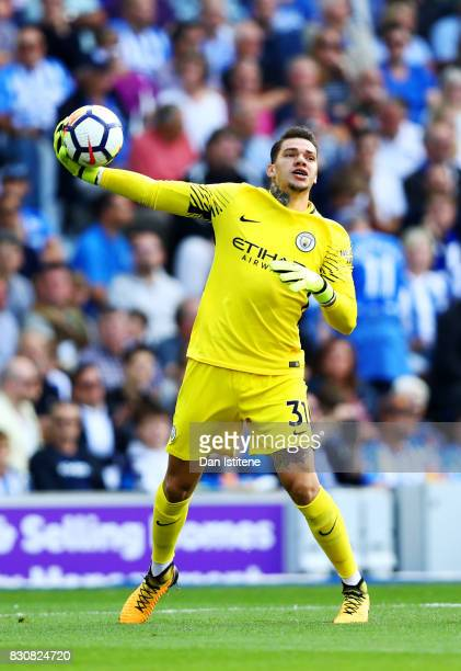 Ederson of Manchester City throws the ball during the Premier League match between Brighton and Hove Albion and Manchester City at Amex Stadium on...