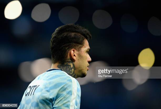 Ederson of Manchester City warms up prior to the Premier League match between Manchester City and Everton at Etihad Stadium on August 21 2017 in...