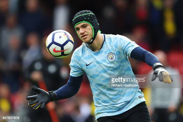 Ederson of Manchester City warms up prior to the Premier League match between Watford and Manchester City at Vicarage Road on September 16 2017 in...