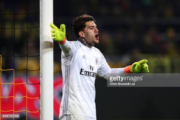 Ederson of SL Benfica gestures during the UEFA Champions League Round of 16 second leg match between Borussia Dortmund and SL Benfica at Signal Iduna...