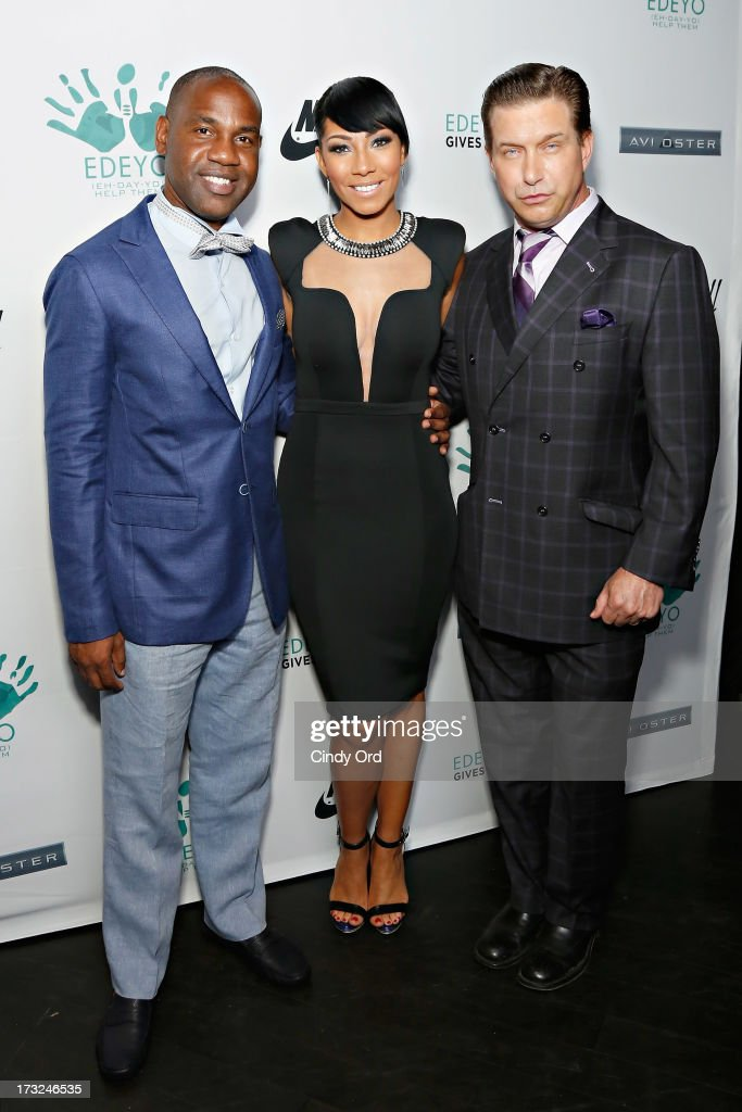Edeyo Foundation founder Unik Ernest, recording artist Bridget Kelly and actor Stephen Baldwin attend the 2013 Edeyo Gives Hope Ball at Highline Ballroom on July 10, 2013 in New York City.