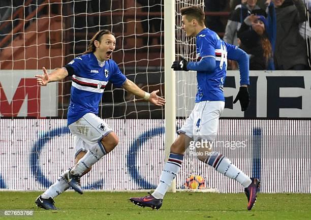 Edgar Barreto and Patrik Schick of Sampdoria celebrate after the second goal 20 during the Serie A match between UC Sampdoria and FC Torino at Stadio...