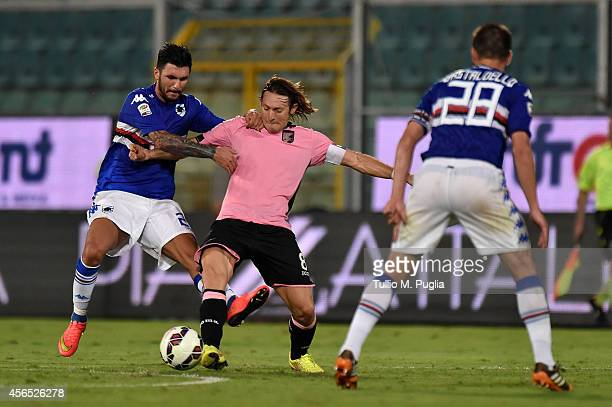 Edgar Barreto of Palermo in action during the Serie A match between US Citta di Palermo and UC Sampdoria at Stadio Renzo Barbera on August 31 2014 in...