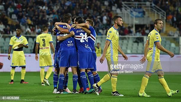 Edgar Barreto of UC Sampdoria celebrates after scoring the opening goal during the Serie A match between Pescara Calcio and UC Sampdoria at Adriatico...