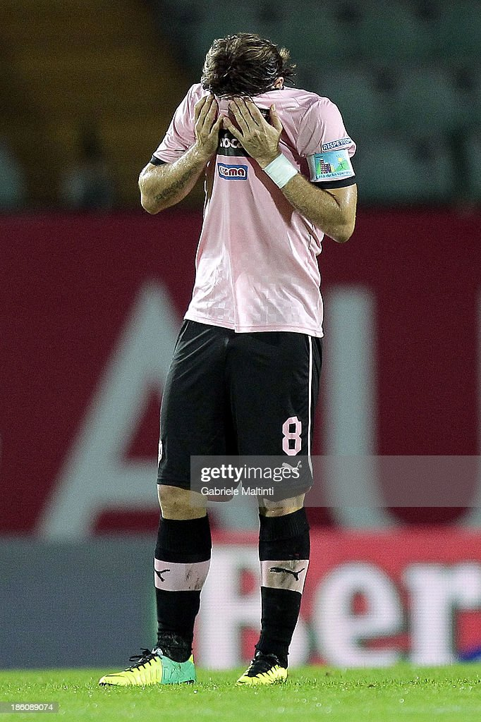 Edgar Barreto of US Citta' di Palermo reacts during the Serie B match between AC Siena and US Citta di Palermo at Artemio Franchi - Mps Arena on October 21, 2013 in Siena, Italy.