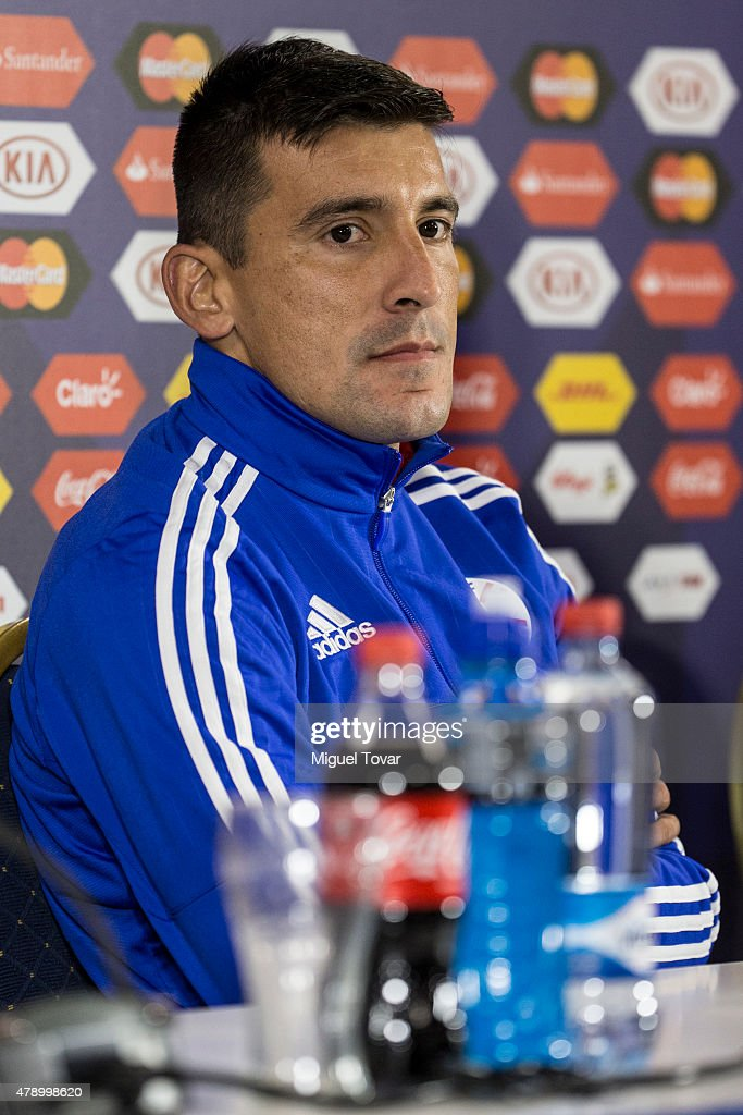 <a gi-track='captionPersonalityLinkClicked' href=/galleries/search?phrase=Edgar+Benitez&family=editorial&specificpeople=3433635 ng-click='$event.stopPropagation()'>Edgar Benitez</a> of Paraguay attends during a press conference at Alcaldesa Ester Roa Rebolledo Municipal Stadium on June 29 2015 in Concepcion, Chile. Paraguay will face Argentina as part of 2015 Copa America Chile Semi Final on June 30.