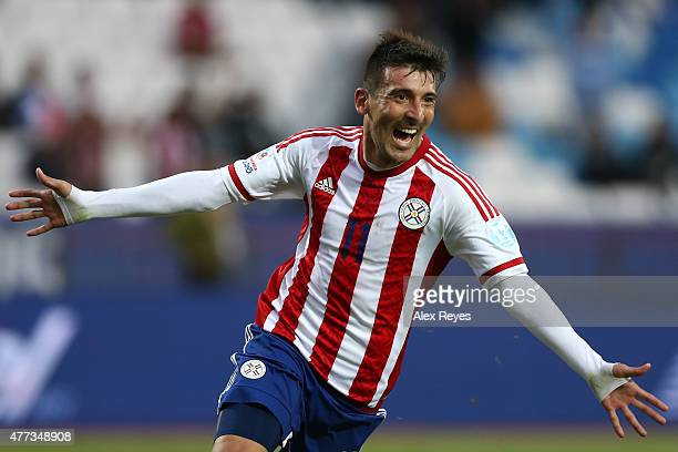 Edgar Benitez of Paraguay celebrates after scoring the opening goal during the 2015 Copa America Chile Group B match between Paraguay and Jamaica at...