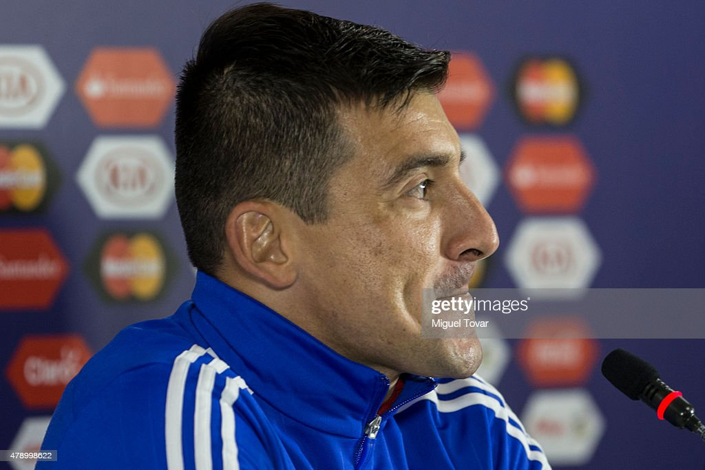 <a gi-track='captionPersonalityLinkClicked' href=/galleries/search?phrase=Edgar+Benitez&family=editorial&specificpeople=3433635 ng-click='$event.stopPropagation()'>Edgar Benitez</a> of Paraguay gestures during a press conference at Alcaldesa Ester Roa Rebolledo Municipal Stadium on June 29 2015 in Concepcion, Chile. Paraguay will face Argentina as part of 2015 Copa America Chile Semi Final on June 30.
