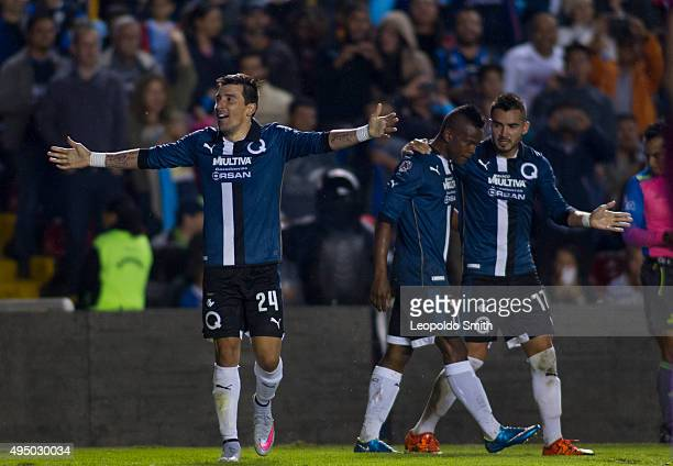 Edgar Benitez of Queretaro celebrates after scoring the second goal during the 15th round match between Queretaro and Monterrey as part of the...