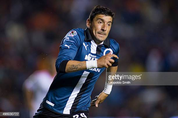 Edgar Benitez of Queretaro celebrates after scoring the second goal of his team during the 15th round match between Queretaro and Monterrey as part...