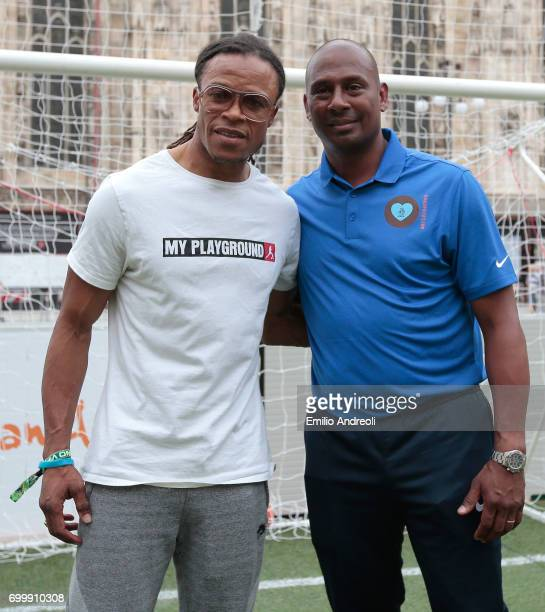 Edgar Davids and Aron Winter attend a football clinic for integration organized by Italian Football Federation on June 22 2017 in Milan Italy