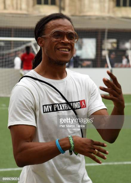 Edgar Davids attends a football clinic for integration organized by Italian Football Federation at Piazzetta Reale on June 22 2017 in Milan Italy