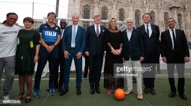 Edgar Davids Clarence Seedorf Roberto Samaden of FIGC King WillemAlexander of the Netherlands Queen Maxima of the Netherlands and mayor of Milan...