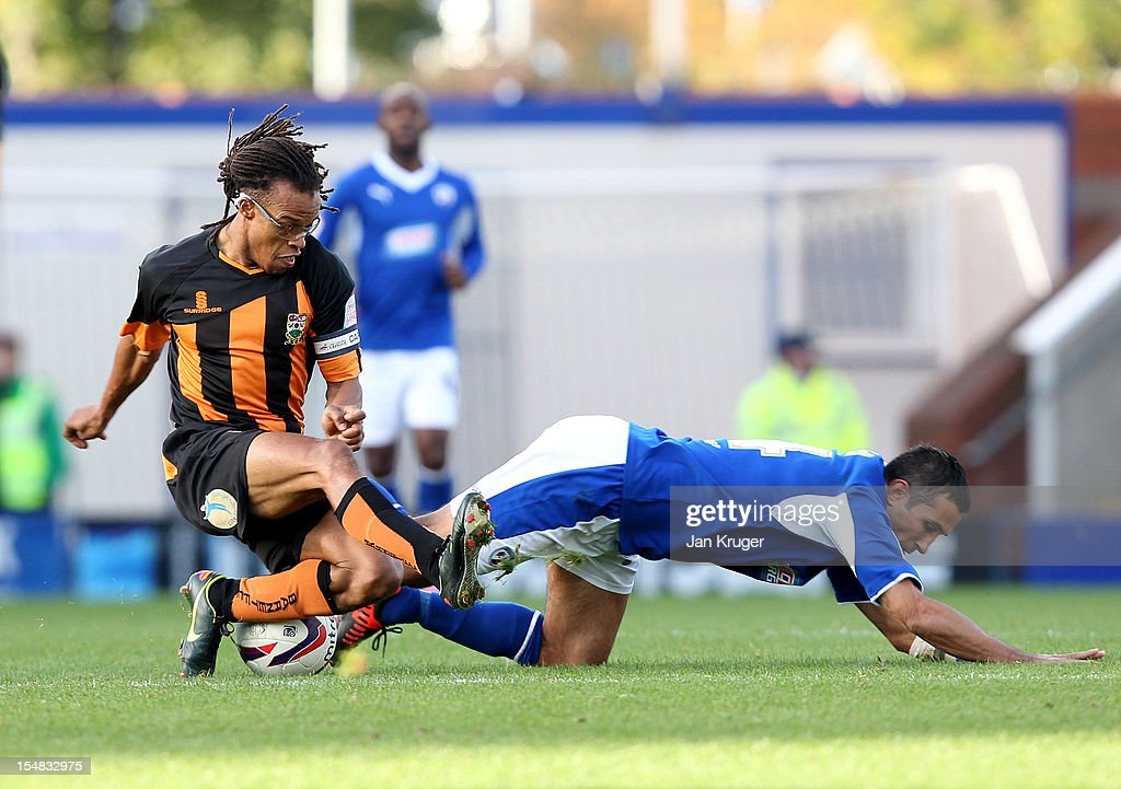 <a gi-track='captionPersonalityLinkClicked' href=/galleries/search?phrase=Edgar+Davids&family=editorial&specificpeople=213130 ng-click='$event.stopPropagation()'>Edgar Davids</a> of Barnet FC challenge Jack Lester of Chesterfield during the npower League Two match between Chesterfield and Barnet at Proact Stadium on October 27, 2012 in Chesterfield, England.